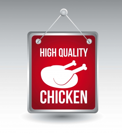 plumed: red chicken announcement over gray background. vector illustration Illustration