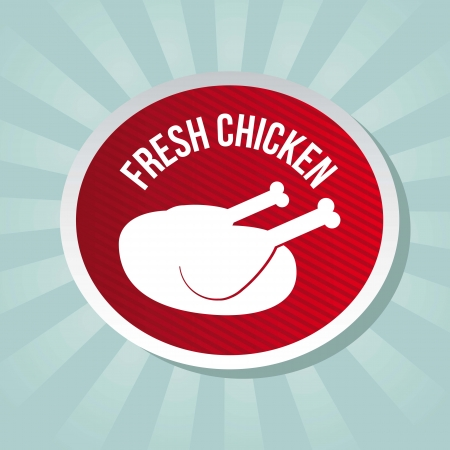 chicken label over blue background. vector illustration Vector