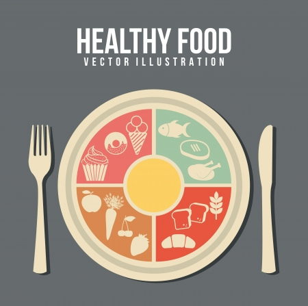 recipe: healthy food concept, vintage style. vector illustration Illustration