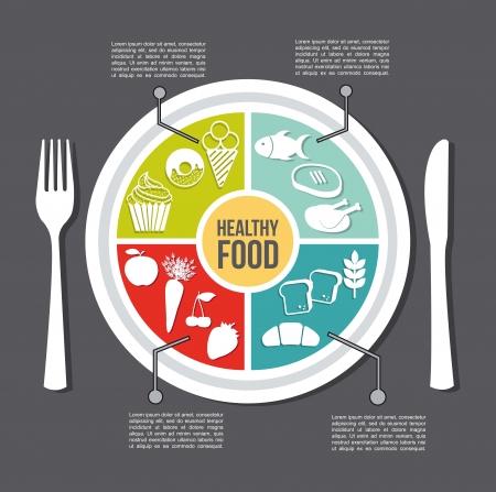 alimentos saludables: concepto de comida sana, estilo vintage. ilustraci�n vectorial Vectores
