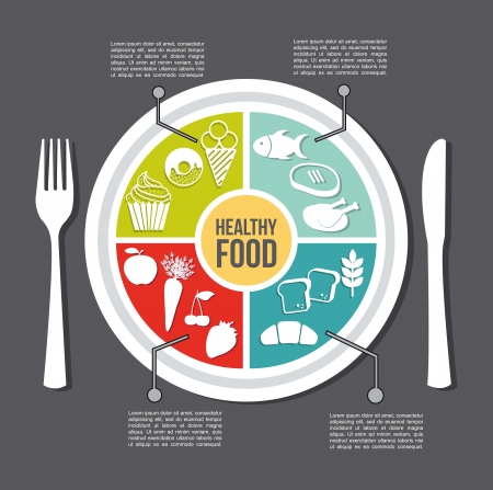plate of food: healthy food concept, vintage style. vector illustration Illustration