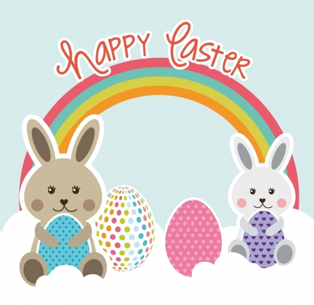 bunny ears: happy easter card with rabbit and egg. vector illustration