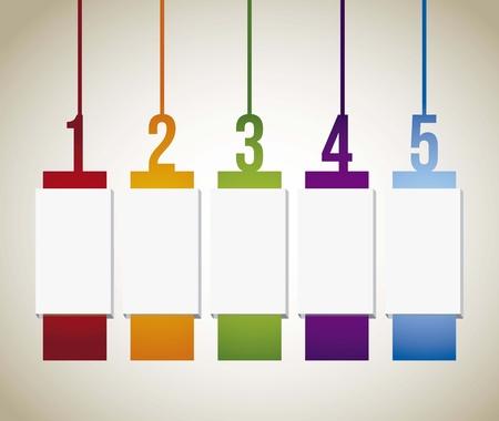 progress steps: numbers labels over beige background. vector illustration