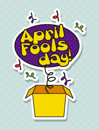 pranks: april foods day illustration with surprise box. vector background