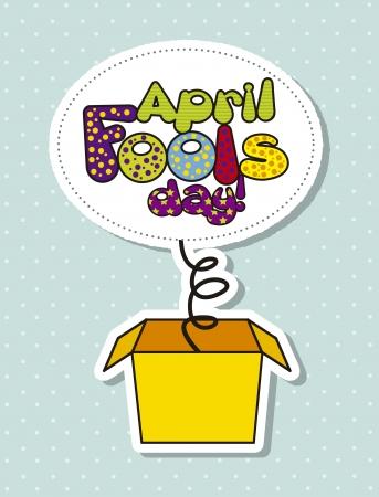pranks: april foods day illustration with surprise box. vector illustration Illustration