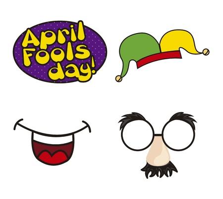 ridicolo: Aprile alimenti giornata illustrazione con elementi. vettore sfondo Vettoriali