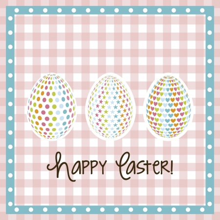 happy easter card, pink background. vector illustration Stock Vector - 17677426