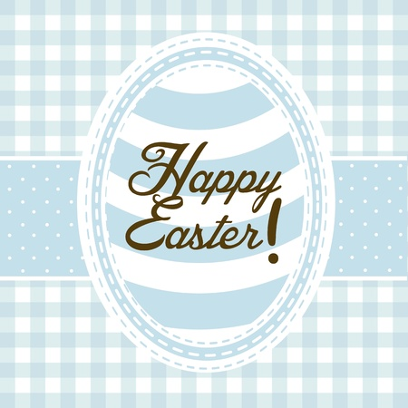 happy easter card, blue background. vector illustration Stock Vector - 17677370