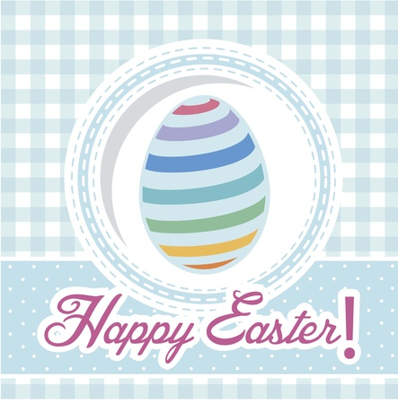 happy easter card, blue background. vector illustration Stock Vector - 17677372