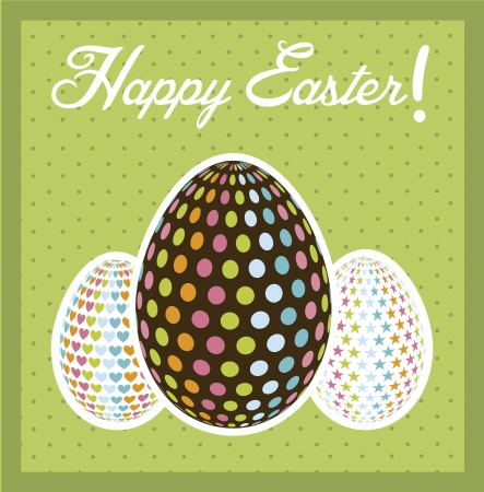 happy easter card, green background. vector illustration Stock Vector - 17677438