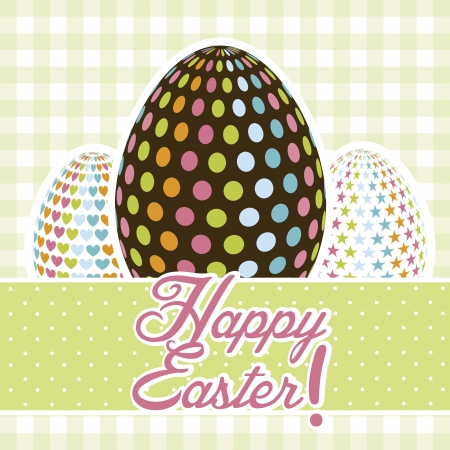 happy easter card, green background. vector illustration Stock Vector - 17677431