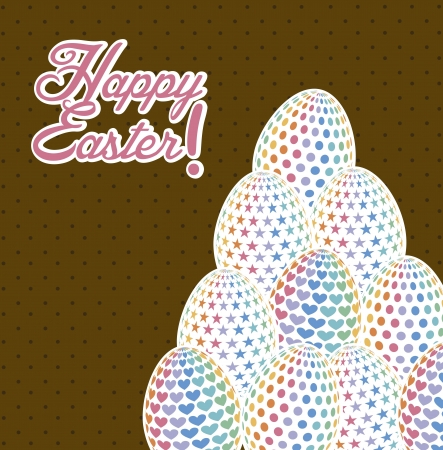 happy easter card, brown background. vector illustration Stock Vector - 17677467