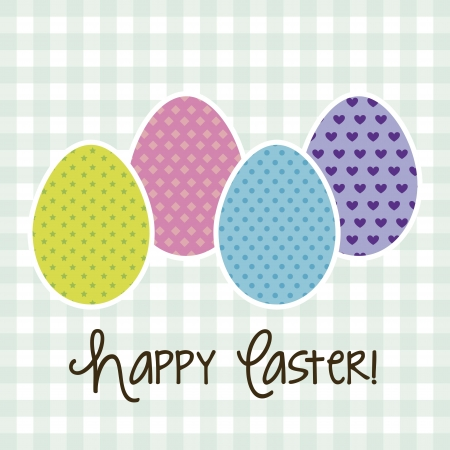 happy easter card, blue background. vector illustration Stock Vector - 17677368