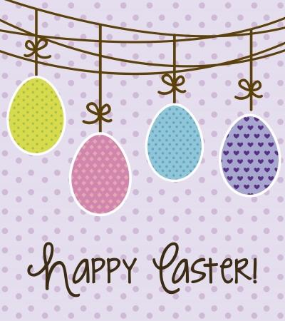 happy easter card, violet background. vector illustration Stock Vector - 17677377