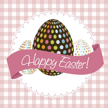 happy easter card, pink background. vector illustration Stock Vector - 17677435