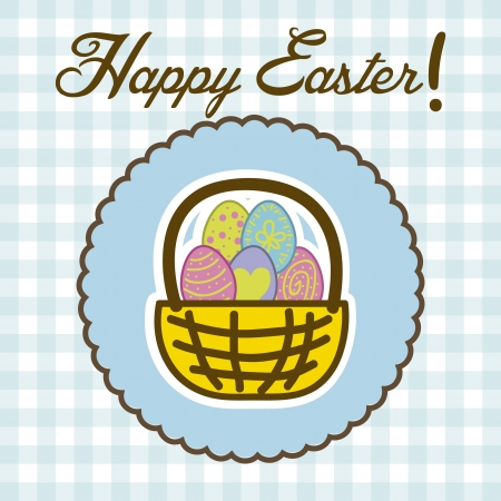 happy easter card,blue background. vector illustration Stock Vector - 17677202