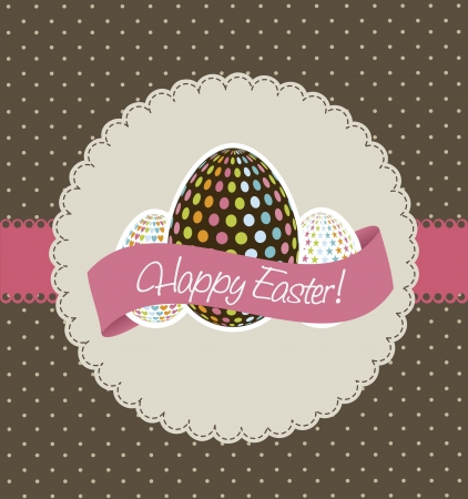happy easter card, brown background. vector illustration Stock Vector - 17677441