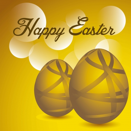 happy easter with gold eggs over gold background. vector illustration Stock Vector - 17677460