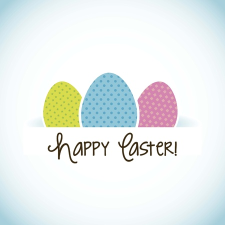 happy easter card, blue background. vector illustration Stock Vector - 17677197
