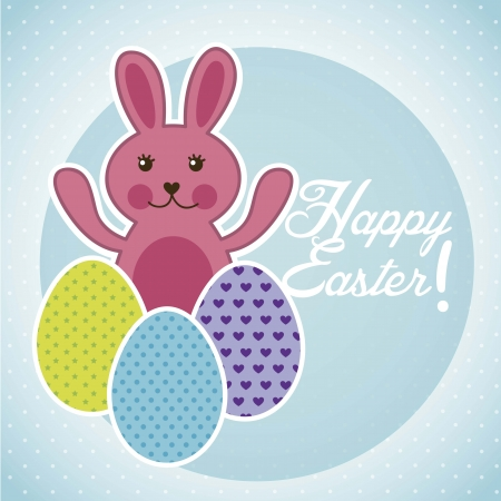 happy easter with rabbit and egg. vector illustration Vector