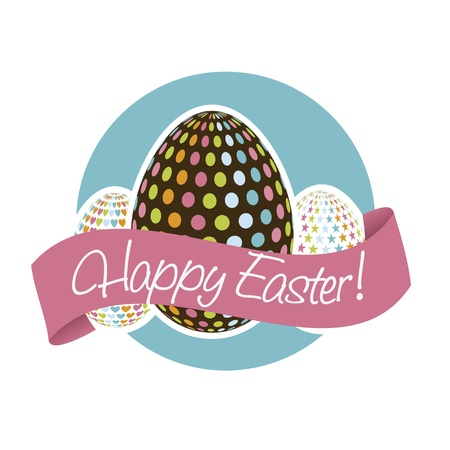 happy easter card, blue background. vector illustration Stock Vector - 17677381
