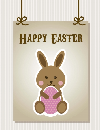 happy easter card with rabbit and egg. vector illustration Vector