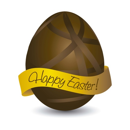 happy easter card with chocolate egg. vector illustration Stock Vector - 17677442