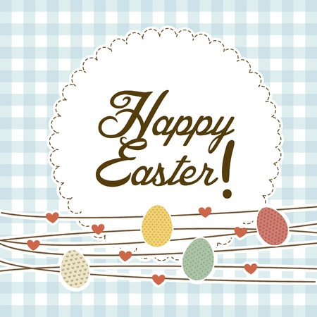 happy easter card, blue background. vector illustration Stock Vector - 17677486