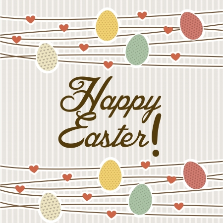 happy easter card over beige background. vector illustration Stock Vector - 17677485