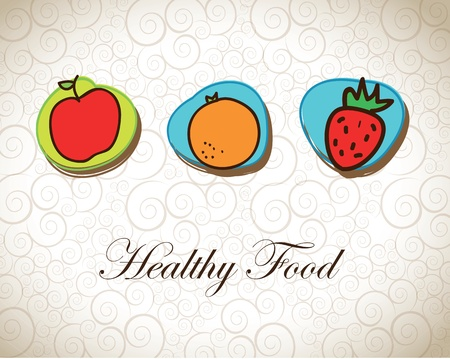 Healthy food with fruits over vintage background vector illustration Stock Vector - 17734365