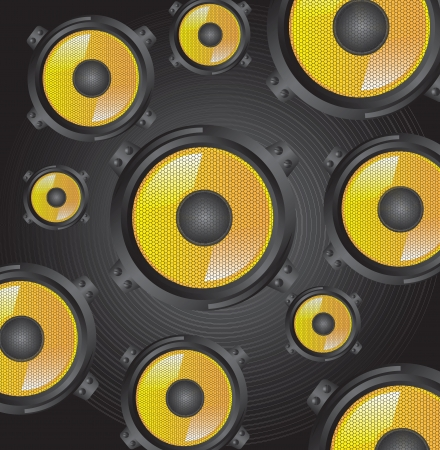 Black and yellow speakers  over gray background Stock Vector - 17734458
