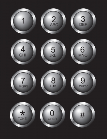 chatter: Numbers button over black background vector illustration