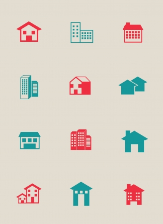 home icon: Real estate over white background vector illustration