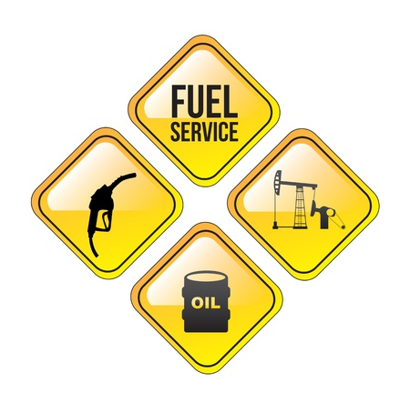 filling station: Fuel service over white background vector illustration