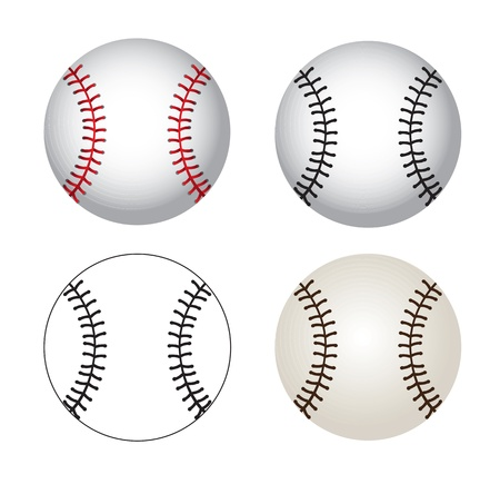 softball: Baseball balls over white background vector illustration