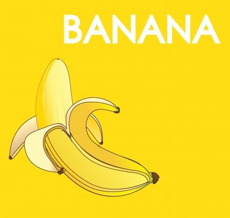 primate biology: Banana fruit over yellow background vector illustration Illustration