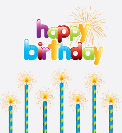 Happy Birthday card over white background vector illustration  Stock Vector - 17734423