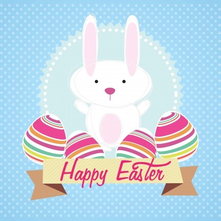 Happy Easter bunny on blue background. Vector Illustration Vector