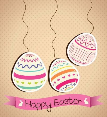 easter decorations: Easter eggs painted in colors. Vector Illustration Illustration