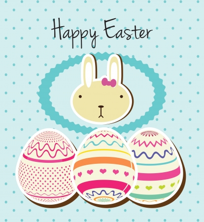 Happy Easter bunny and eggs on blue background. Vector Illustration