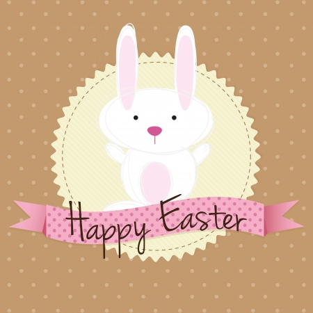 White easter bunny, on vintage background. Vector Illustration