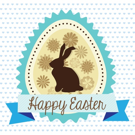 Easter egg with bunny and flowers. Vector illustration Vector