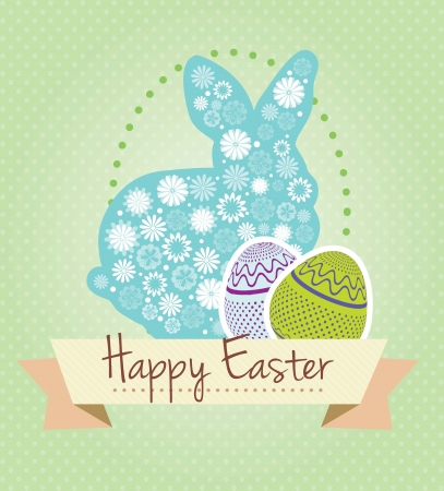 Easter bunny and flowers with eggs. Vector illustration Stock Vector - 17734446