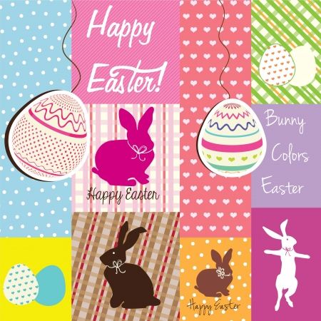 Happy Easter Colorful  labels with eggs and cute bunnies. Vector Illustration Vector