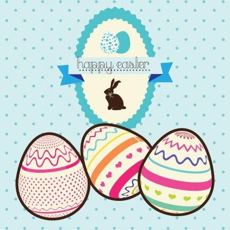Easter eggs painted in colors with bunny label. Vector Illustration Vector
