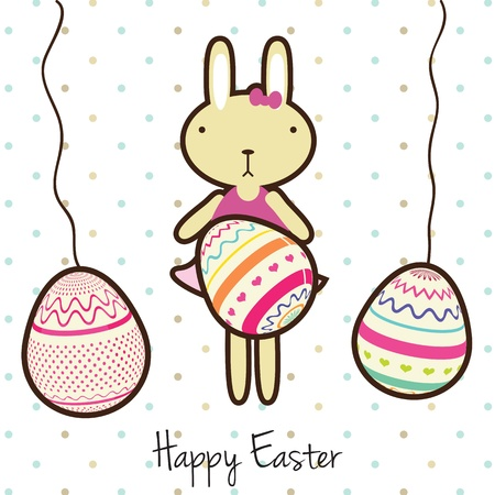 Happy Easter bunny on white background. Vector Illustration Vector