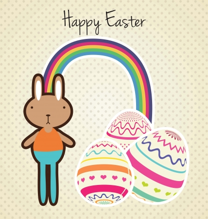 Easter Bunny, painted eggs and rainbow, vector illlustration Stock Vector - 17734428
