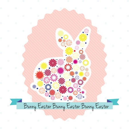 Easter egg with bunny and flowers. Vector illustration Stock Vector - 17734440
