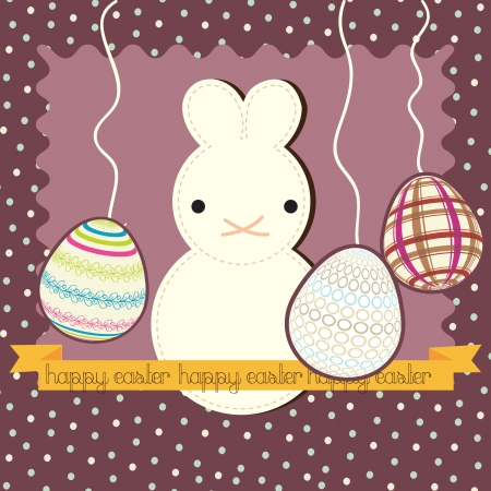 White easter bunny, on vintage background. Vector Illustration Stock Vector - 17734437