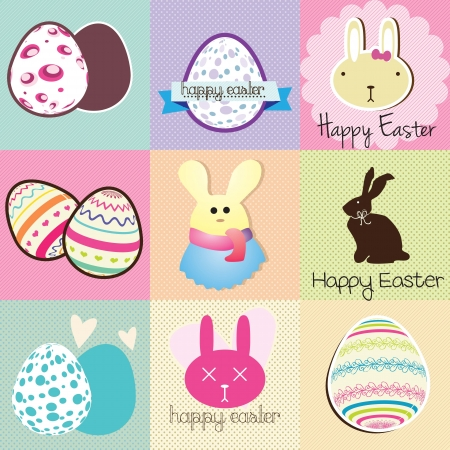 Happy Easter Labels Pastel Colors. Vector Illustration Vector